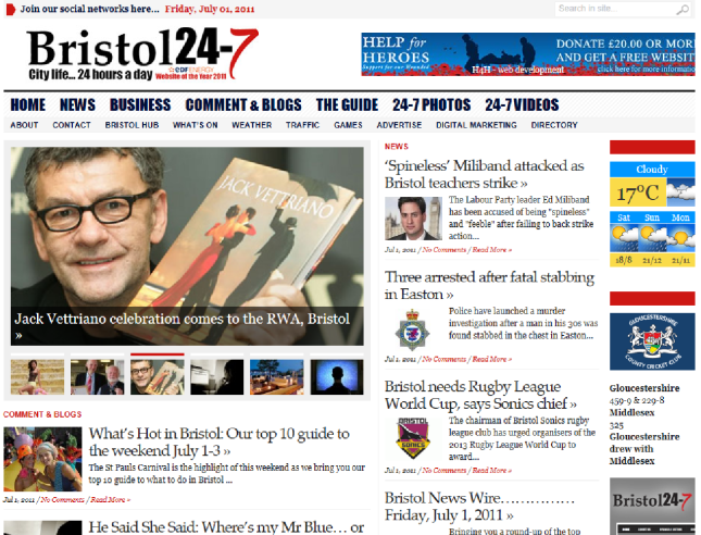 Vettriano on the Bristol247 homepage